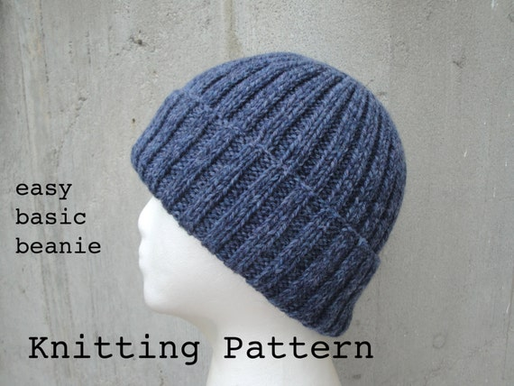 Knit Pattern Beanie Easy : Girlpowers Basic Beanie PDF Knitting Pattern Easy by Girlpower