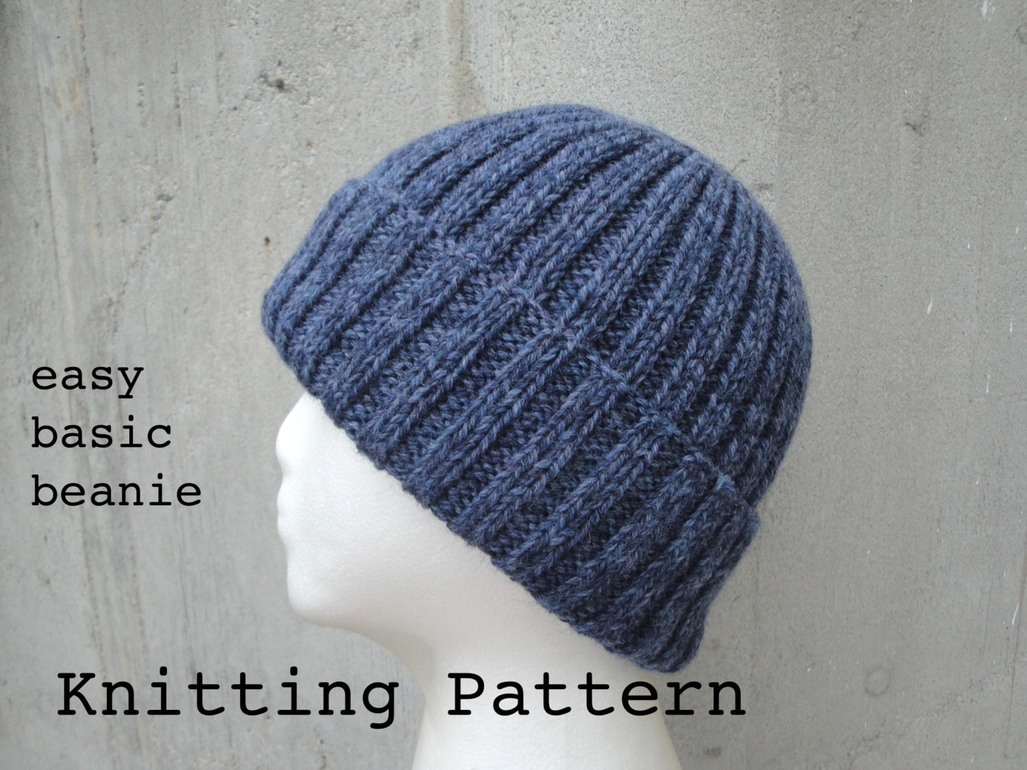 Pattern For Infinity Scarf Knit : Girlpowers Basic Beanie PDF Knitting Pattern Easy by Girlpower