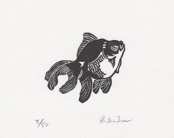 "Block print: Blackmoor Goldfish - limited edition hand pulled fine art block print, linocut print (4 x 4"")"