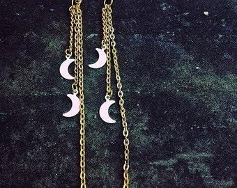triple set of crescent moon dangles, raw brass tiny half moons. long earrings.