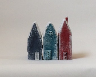 Set of three Winter, Christmas Little Houses, Made to order
