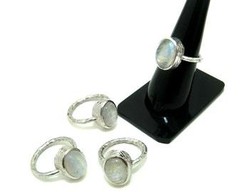 Rainbow Moonstone Sterling Silver Hammered Ring , Rainbow Moonstone Blue Flashy Oval Shape Cabochon Gemstone christmas gift wedding rings
