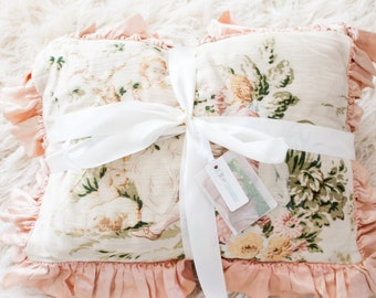 SALE - was over 1000 US Dollars. // 2 Matching Pillows. 1900s Antique - Pink, Down Fill, Wool.