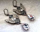 Gothic Earrings Wings Earrings Crystal Drop Earrings Large Earrings Dangling Fantasy Earrings Victorian Gothic Jewelry