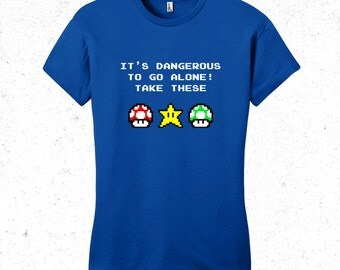 Super Mario t-shirt womens - Legend of zelda shirt -It's dangerous to go alone