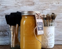 Handmade ChalkBoard Paint, Gold, Honeycomb, Autumn Leaf, Painted Furniture, Boho Chic, Chalk Painted Furniture, Wax Brush, Wax Seal, Wood