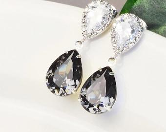 Charcoal Gray Earrings - Swarovski Earrings - Bridesmaid Earrings - Swarovski Jewelry - Crystal Drop Earrings - Bridesmaid Jewelry