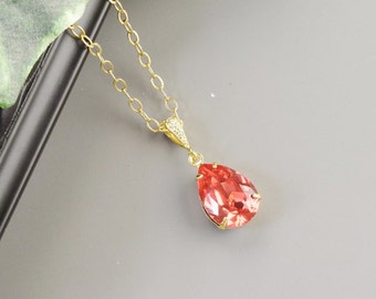 Coral Necklace - Swarovski Necklace Gold - Teardrop Necklace for Bridesmaids - Wedding Jewelry - Bridesmaid Jewelry - Swarovski Jewelry