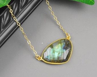 Labradorite Necklace - Gold Labradorite Pendant Necklace - Bezel Pendant Necklace - Gray Gemstone Necklace - Gold Gray Necklace
