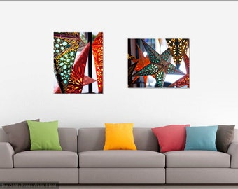 Star Lantern Canvas Set 2 Photo Canvases Gallery Wrapped Ready to Hang, Bohemian Home Wall Gallery, Paper Lanterns Photography Stars Nursery