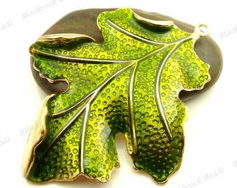 Large Green Enamel and Gold Tone Leaf Pendant 67x51mm - Focal, Necklace Charm, Findings, Jewelry Supply, Ornate, Very Detailed - BF14