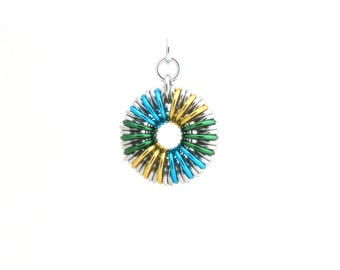 Chain Maille Pendant, Multicolor Jump Ring Jewelry, Gold Green and Turquoise Blue
