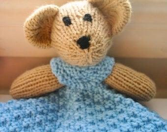 Bear Blanket Buddy Knitted Stuffed Toy