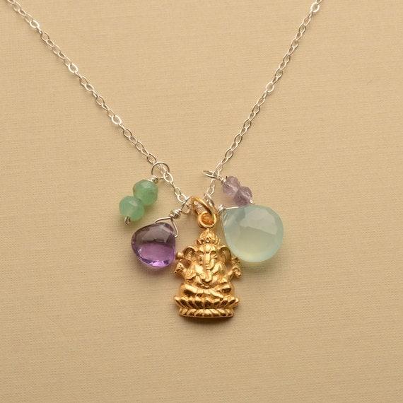 ganesha necklace charm necklace gold ganesha gemstone