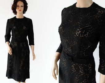 50s Wiggle Dress, Black Lace, Party Cocktail, Mid Century Fashion
