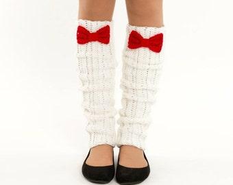 SALE--White and Cherry Bow Knit Leg Warmers, Crocheted Boot Socks, Handmade Women's Warm, Soft Winter Accessory, Dance Wear, Ballet