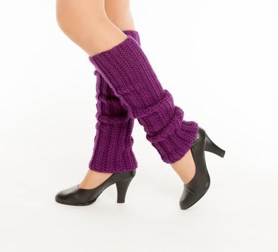 SALE--Plum Knit Leg Warmers, Crocheted Leggings, Handmade Women's Warm, Soft, Winter Accessory, Dance Wear, Exercise, Ballet,  80's Style