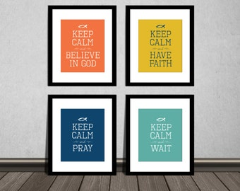 DIY Printable. Inspirational Bible Verse. Keep Calm and Believe in God, Have Faith, Pray, Wait. Set of 4. JPG file. Download Immediately.