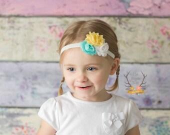White Yellow and Aqua Petite Flower Baby Headband - Newborn Infant Baby Toddler Girls Adult  Flower Head band