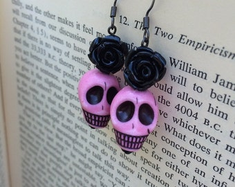 SALE Black & Pink Sugar Skulls and Roses Dangle Earrings