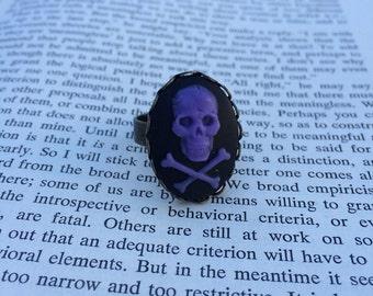 SALE! Purple On Black Skull & Crossbones Cameo Ring - Brass (Adjustable)