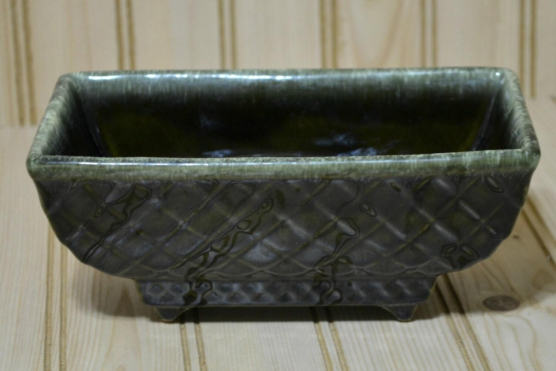 Vintage Rectangle Planter Ceramic Pottery Diamond Pattern