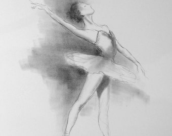 Ballerina Art, Original Ballerina, Ballet Art, Ballerina Picture, Pencil Drawing, Ballerina Drawing, Ballerina Sketch, Girl Room Décor, Gift