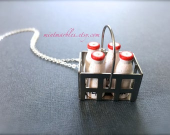Miniature Crate of Milk Necklace. Milk Bottles. Wood. Retro. Farm. White. Red. Miniature Milk Bottles. Silver Chain. Under 20. Gifts. Unique