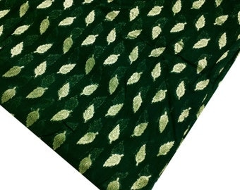 Traditional Georgette Fabric in Green and Gold