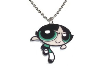 Buttercup Necklace, Powerpuff Girls, Cute, Superhero Kawaii Laser Cut Pendant