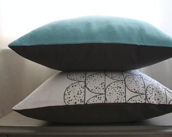 robin's egg blue pillow | blue and grey linen pillow | 18 x 18 inch pillow cover | linen pillows