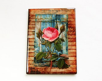 Kitchen magnet, Fridge magnet, Magnet, ACEO, Flower magnet, Rose magnet, pink rose, stocking stuffer, Magnet, abstract design (4470)