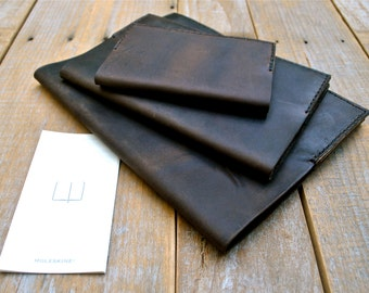 Coffee Brown Leather Moleskine Notebook Cover Set