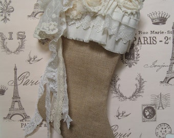 Ruffles Lace Burlap Christmas Stocking French Farmhouse, Shabby Cottage, Rustic, Ivory, Natural