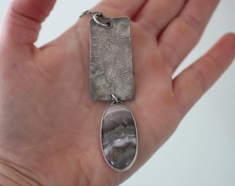 Reticulated Silver Necklace with Amethyst Lace Agate