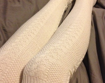 Cream Boot Socks with Satin Covered Buttons - Over the Knee Knit Cotton Socks