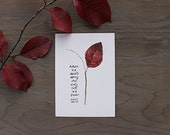 Autumn Quote . Watercolor Painting Art Print . Albert Camus Quote . Autumn Leaves Watercolor . Fall Foliage . Hand Lettering . Marsala Red