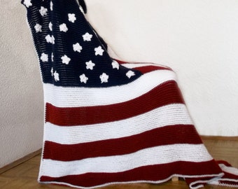 American Flag Afghan Throw Blanket Crochet - Made To Order