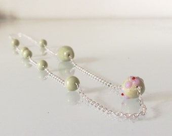 boho camo green handblown lampwork glass necklace