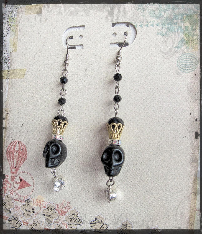 black skull earrings day of the dead earrings sugar skull
