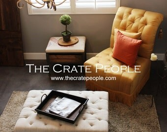 Vintage European Grain Sack – Button Tufted Ottoman CRATE Coffee Table with Storage