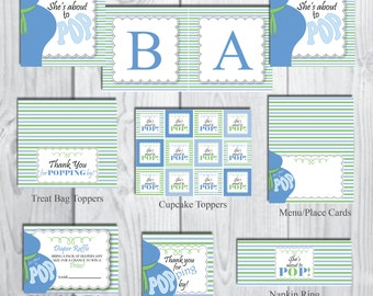 She's About to POP Party Package-Boy Party Package-Baby Shower Party Package-Belly Bump Party Theme-INSTANT DOWNLOAD