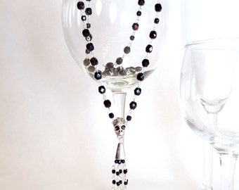 Black Crystal Rosary Style Long Chain Necklace with Silver Sugar Skull Bail and Beaded Tassel