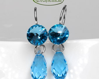 Clearance: Sterling silver earrings with Swarovski crystal - Aquamarine