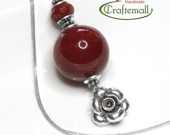Clearance: Natural stone necklace - sterling silver pendant necklace with Mookaite Jasper