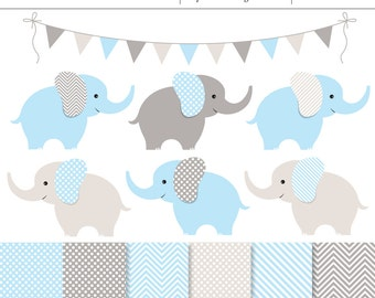 Blue and Gray Baby Elephants 13 Piece Digital Clipart and Background Set - Commercial Use, Baby Boy Shower,