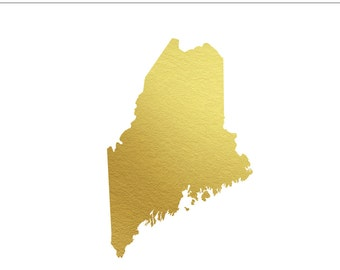 Maine Gold Foil Clip Art State - Personal & Commercial Use, Wedding, United States, Northeast, Lobster, New England, ME - INSTANT DOWNLOAD