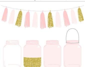 High Quality Pink Mason Jars and Tassel Clip Art Set - Gold Glitter, Wedding Invitation, Ball Jar, Vintage, Commercial Use, Instant Download