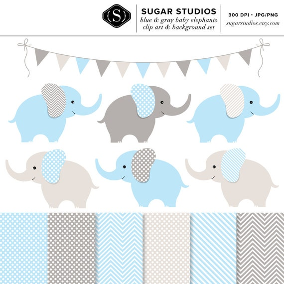 Items similar to Blue and Gray Baby Elephants 13 Piece ...