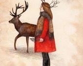 Away With Deer, Art Print, Watercolor Art, Wall Art, Bedroom Decor, Girls Bedroom Art, Whimsical Art, Home Decor, Girls Gift, Nature Art